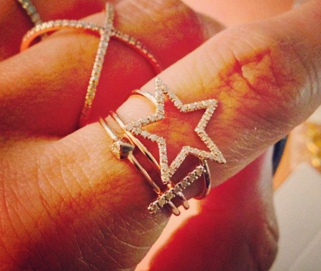 Star studded stacking party kind of a day  #rose gold #diamonds #star #stick #pyramid #alexisjewelry