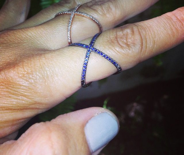 Newest member to the X family.  #blue sapphires #black rhodium #xring #alexisjewelry