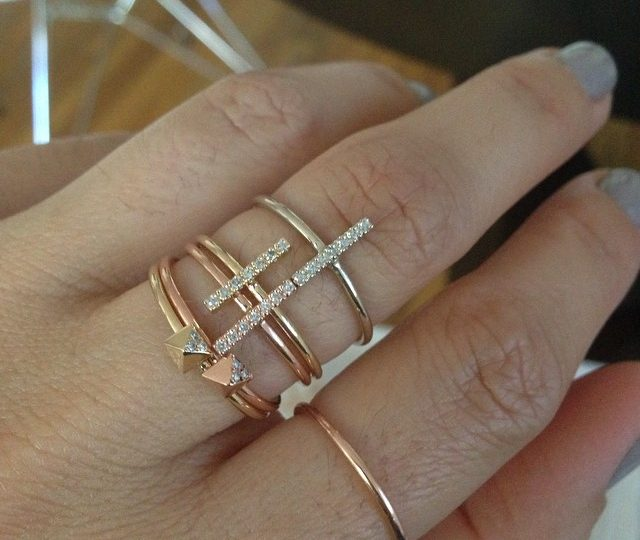 Playing dress-up with a finger full of stacking rings.  Weekends are the BEST.  #rosegold #yellowgold #whitegold #stacking #rings #alexisjewelry