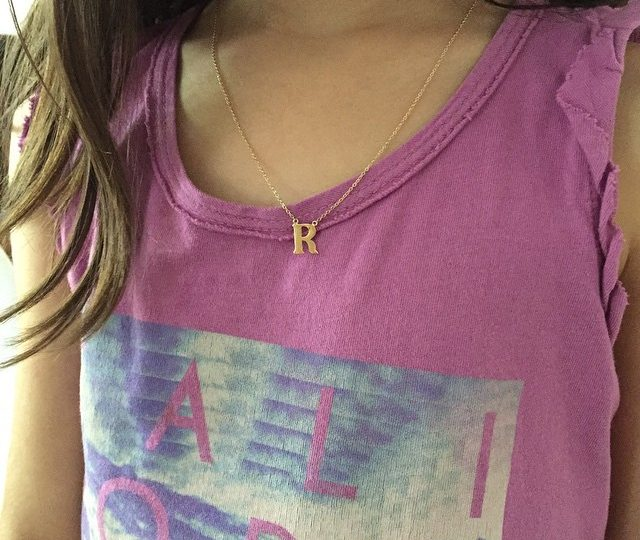 """My little monkey sporting her letter """"R"""" charm #initials #charms #necklaces #adults #kids #alexisjewelry"""
