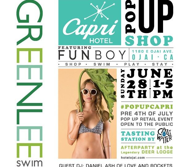 If you are near Ojai this weekend or looking for something fun to do check out our friends @greenleeswim and @funboylife at their pop up shop this Sunday @caprihotelojai #ojai #poolparty #bikinis #floats #popup #weekendsrule
