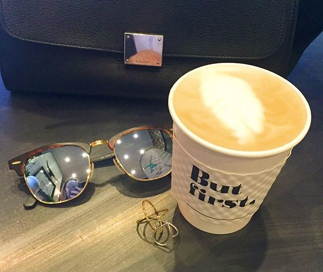 Morning meetings at @alfredcoffee ️ #melrose #butfirstcoffee #workhardplayhard #cantstopwontstop #morning #meetings #latte #coffee #espresso #jewelry #alexisjewelry #rings #gold #sterlingsilver #sunnies #celine #rayban #alfredcoffee #melroseplace #westhollywood