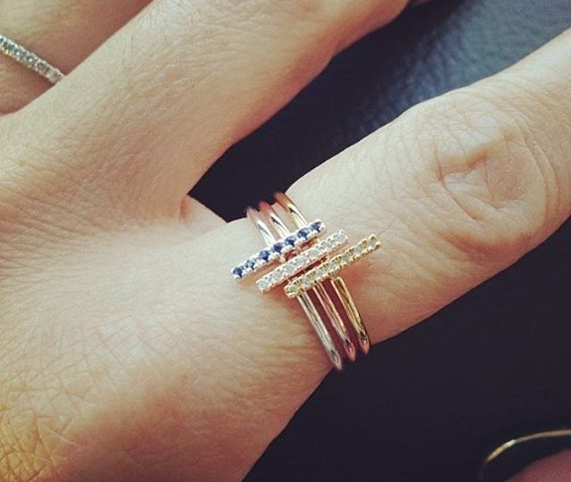 #TBT | Stick stacking rings in white sapphires, blue sapphires and diamonds. #alexisjewelry #finejewelry #style #ootd #rings #diamonds #sapphires #yellowgold #delicate #everyday #jewelry #madeinla #losangeles #throwbackthursday