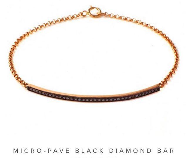 Today's pick 🏼 Micro-Pave Black Diamond Bar Bracelet in Rose Gold