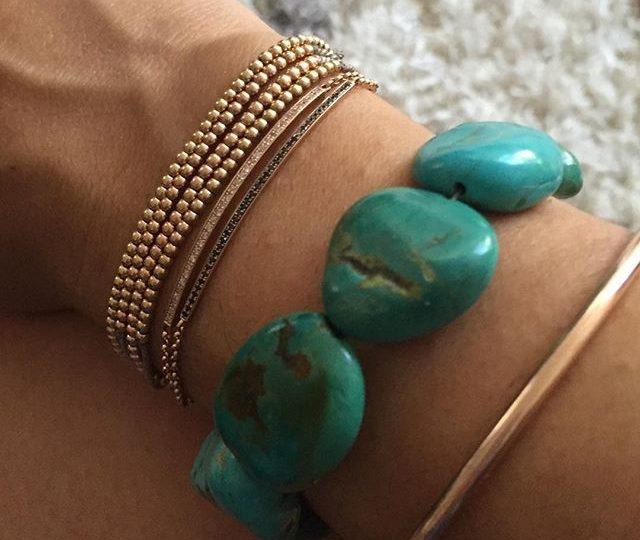 Thursdays arm party ️ #bracelets #jewelry #beadedbracelets #stringbracelets #rosegold #gold #diamonds #blackdiamonds #bangles #turquoise #stones #vintage #new #finejewelry #madeinla #losangeles #readyforsummer #lalaland #alexisjewelry